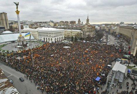 maidan arancione durante la rivoluzione a kiev in ucraina